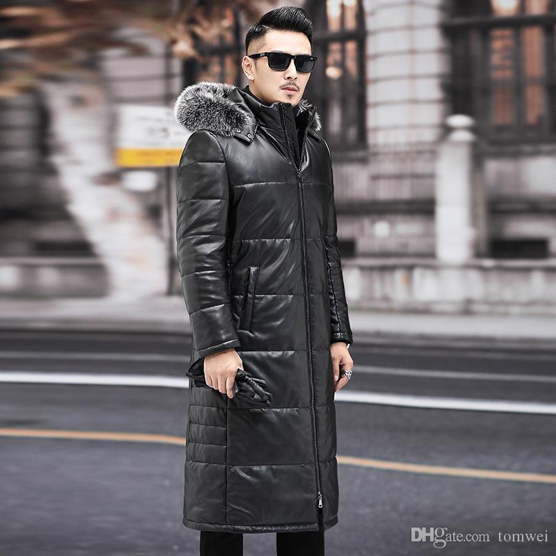Aşağı Parkas Fox Kürk Yaka Kalın Isınma Kar Giyim Overcoat Ördek Uzun Deri ceket Aşağı Erkek Kış Koyun postu Aşağı Coats Kapşonlu Rüzgarlık