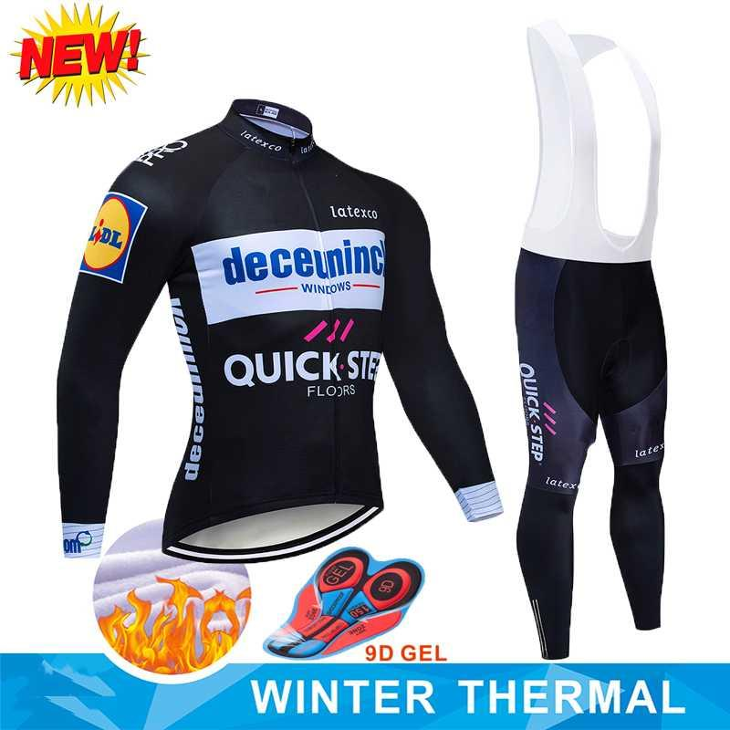 Thermovlies Cycling Bike JERSEY Pants Set Mens 9D Ropa Ciclismo Maillot 2020 3 QUICK STEP TEAM Winterfarben