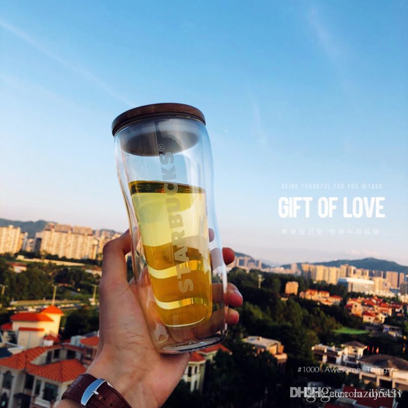 새로운 스타 벅스 나무 커버 이중 절연 투명 유리 컵 커피 잔 dooor - 자동차 찻잔 296ml 선물 세트에서 컵을 동반