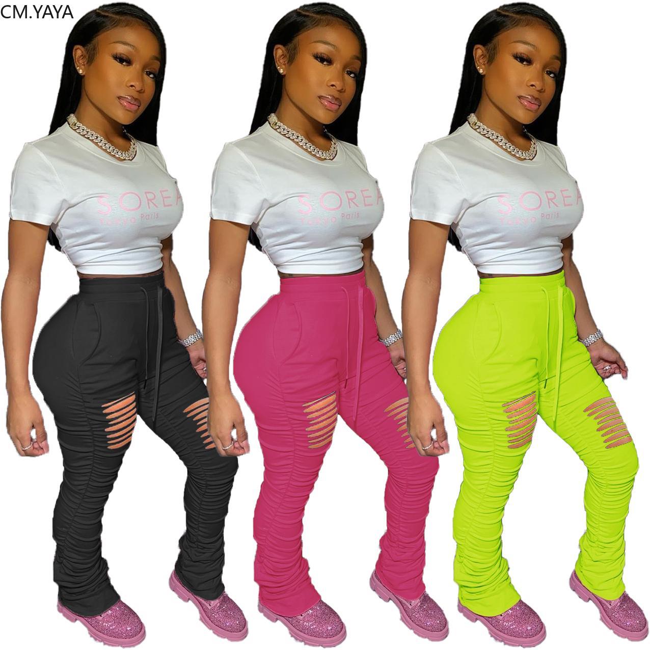 Femmes Hole Hollow Out Elastic Pantalon empilé Leggings Taille haute Taille Flare Bell Botter Split Pantalon Drapé Ruché Jogger Pantalon de survêtement