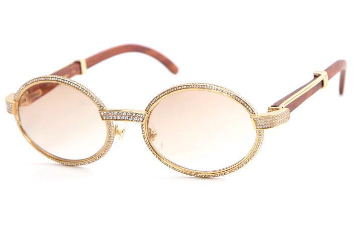 좋은 품질 안경 18K 골드 빈티지 나무 7550178 선글라스 라운드 빈티지 남여 하이 엔드 다이아몬드 안경 제한 C 장식의 골드 프레임