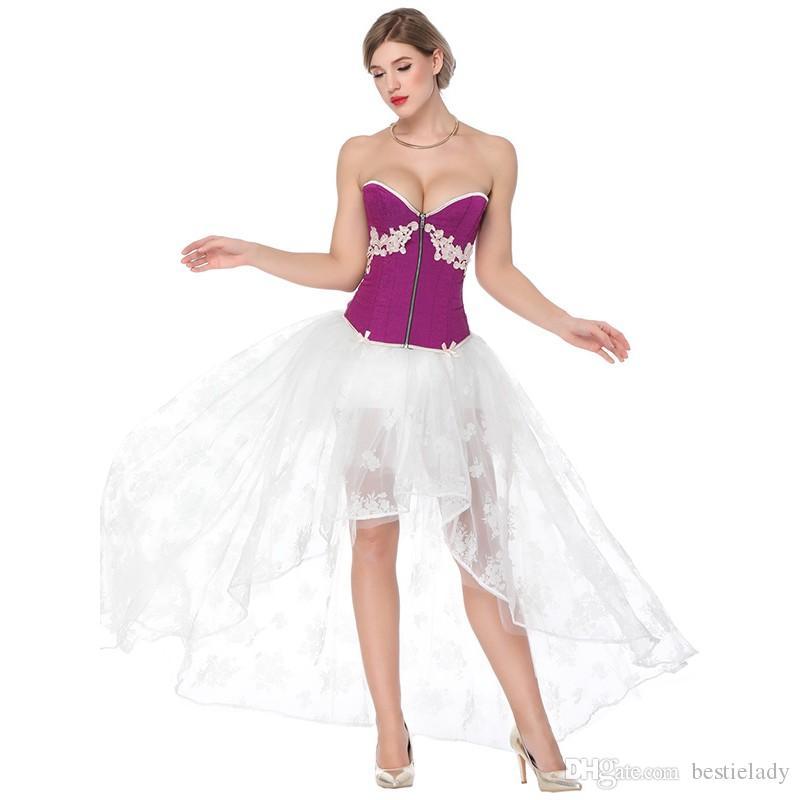 Women Halloween 2pcs Set Burlesque Dance Corset Dress with Appliques Lace Zip-up Overbust Corset Top And A Floral Lace Mesh Hi-lo Long Skirt