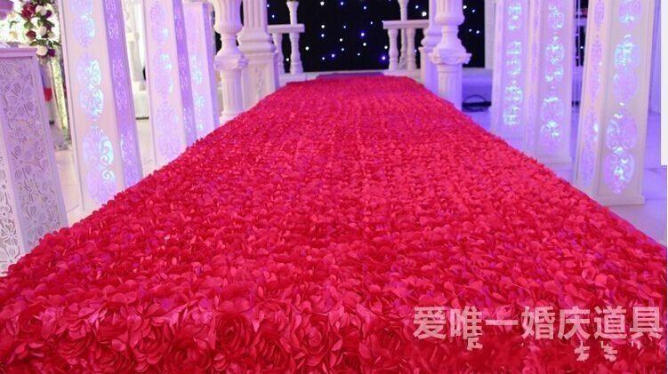 عرس الحسنات يرتكز 3D روز البتلة RED السجاد الممر عداء لحفل زفاف الديكور اللوازم 1.4M واسعة