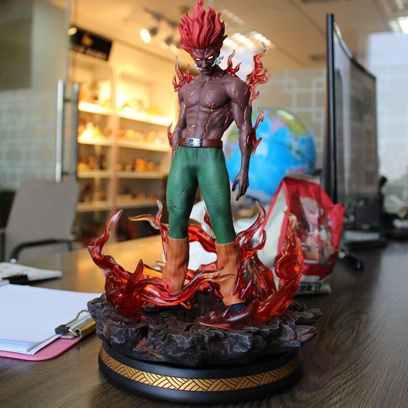 Naruto podría chico estatua PVC figura de acción de ocho puertas armadura Led ojos Naruto Shippuden Anime coleccionable modelo de juguete estatuilla T200117