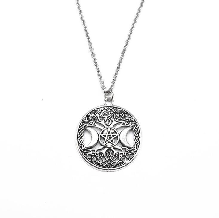Triple Moon Supernatural Pentagram Witchcraft Pentacle Necklace Pendant Amulet Necklaces Jewelry Gothic Collar Choker Vintage Silver NEW