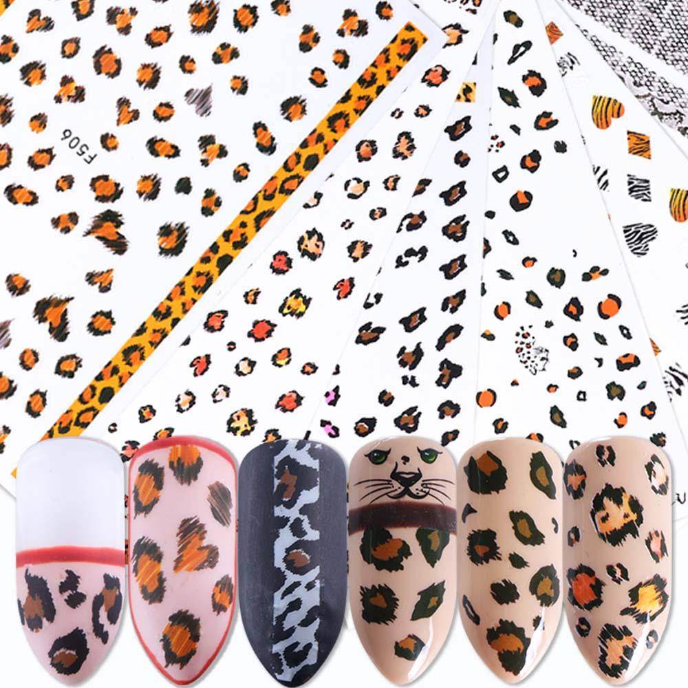 Une feuille Nail Art Stickers adhésifs animaux rayures de tigre imprimé léopard motif de fourrure Nail autocollants manucure décoration BEF505-510