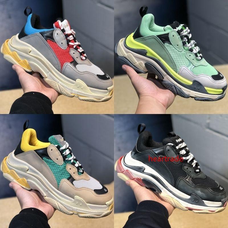 Роскошные дизайнер мода трехместный с 17FW мужчин женская обувь Парижская повседневная обувь мужчины женщины Бегун тройные черные сапоги на плоской подошве кроссовки