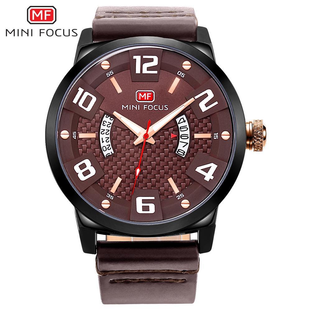 MINIFOCUS Reloj de cuarzo para hombre de negocios Reloj de cuero para hombre Relojes de pulsera de cuarzo Impresionante Relojes impermeables al por mayor MF0149G