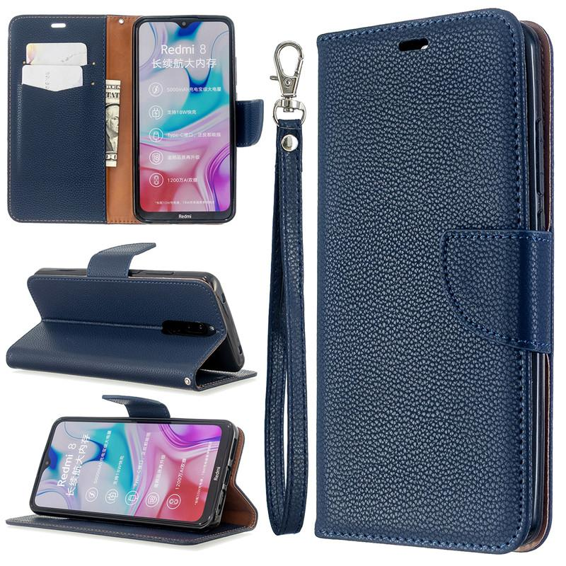 Flip Cover Stand Wallet For Xiaomi Redmi 8 Case Pure Color Lichee Pattern PU Leather Mobile Phone Cases For Xiaomi Redmi 8A