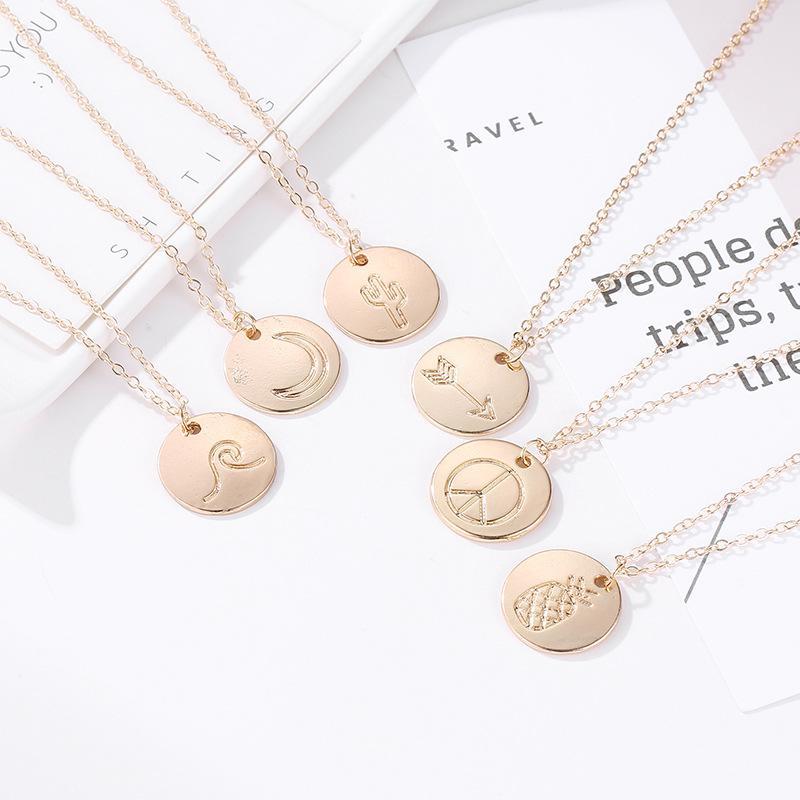 довольно золотое ожерелье для женщин ананас ожерелье мир плоскости картины подвески ожерелья сплава покрытие ключицы цепи ожерелье