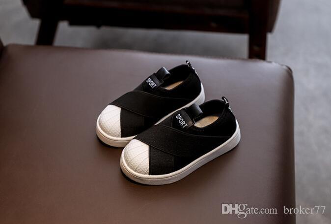 Printemps / Automne garçon fille Petites chaussures blanches chaussures de sport Shell head Chaussures pour enfants 536