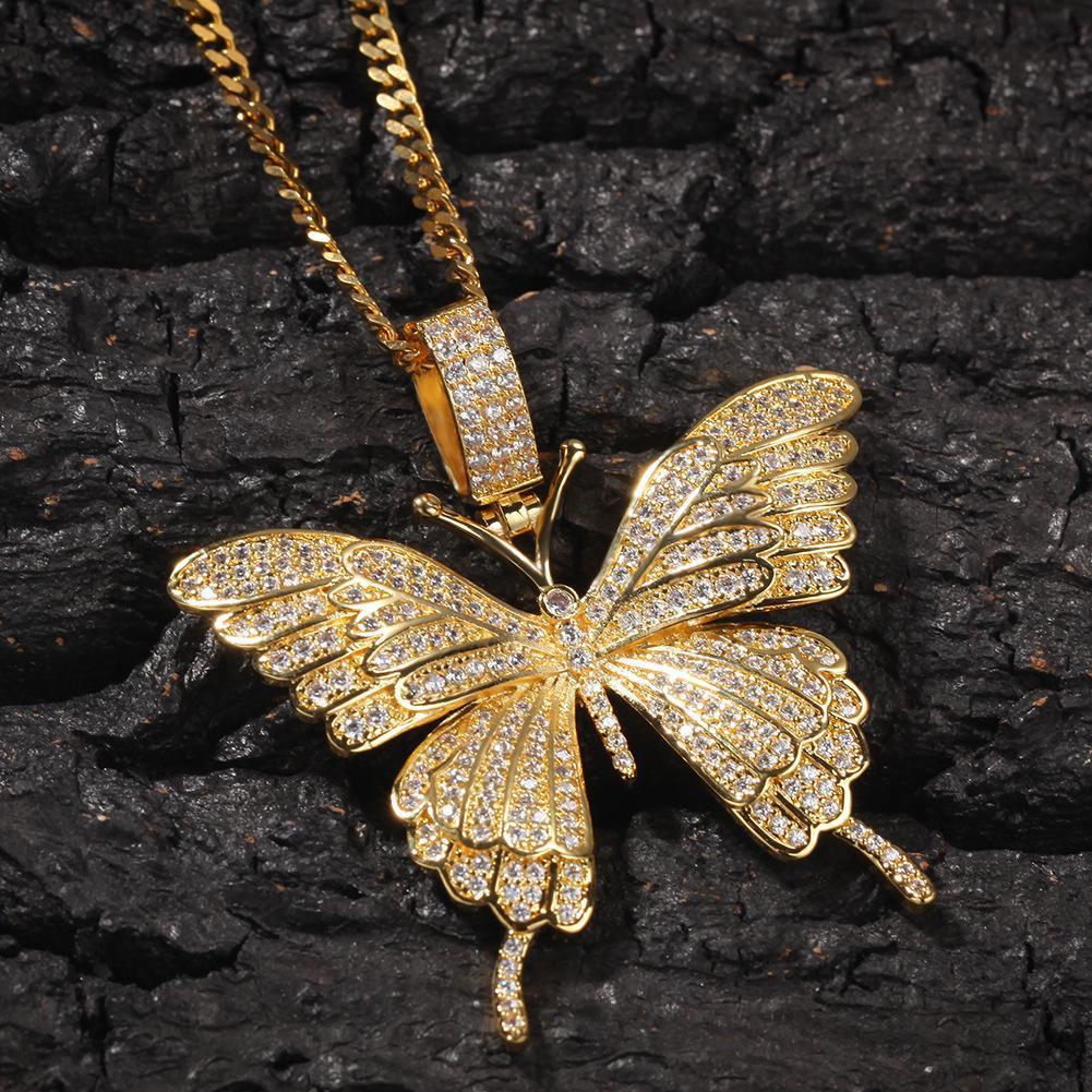 Ожерелье ювелирных изделий способа 18K позолоченный Медная подвеска бабочка Роскошные Мужчины Женщины Bling Циркон Hip Hop ожерелья