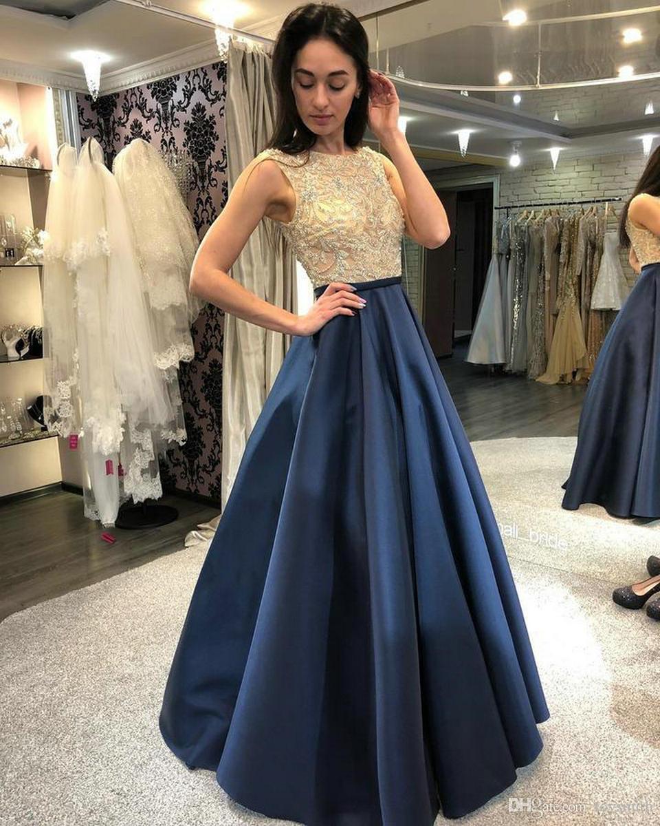 Compre Moda Azul Marino Oscuro Vestidos De Noche Largos 2019 Vestidos De Noche Vestido De Fiesta Scoop Satin Lace Zipper A Line Lace Sexy Lady Club A