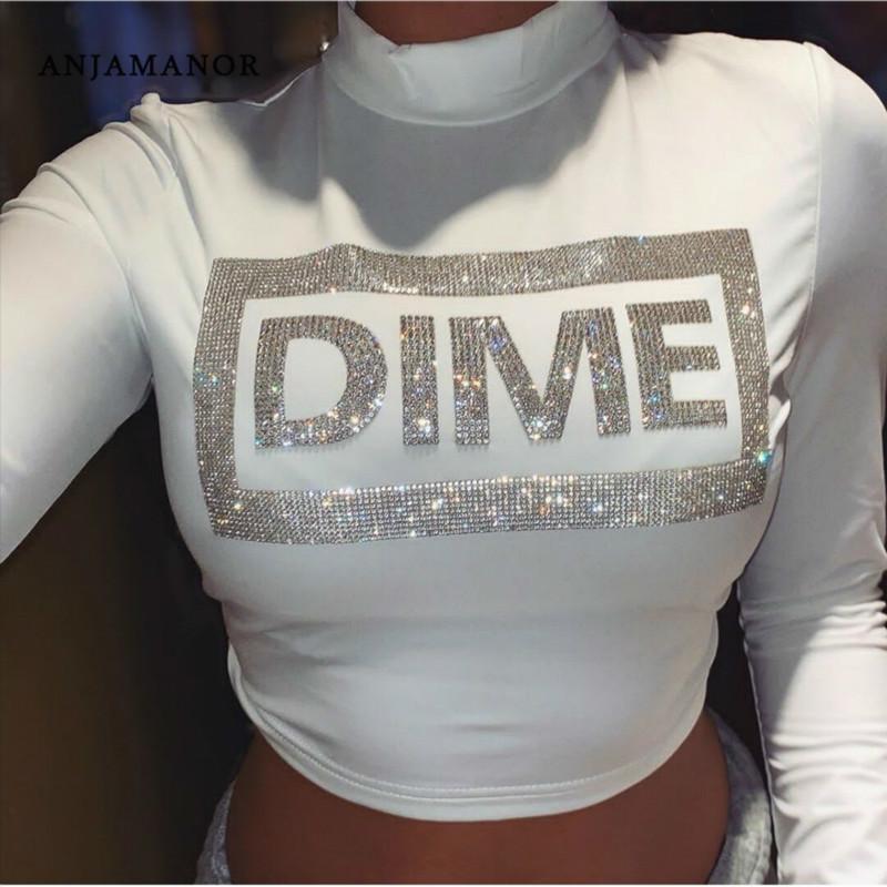 ANJAMANOR Carta Diamond White Magro Sexy T Shirt em torno do pescoço manga comprida Cortar roupa Top Mulheres partido Shirts Graphic Tees D55AZ16 CX200622