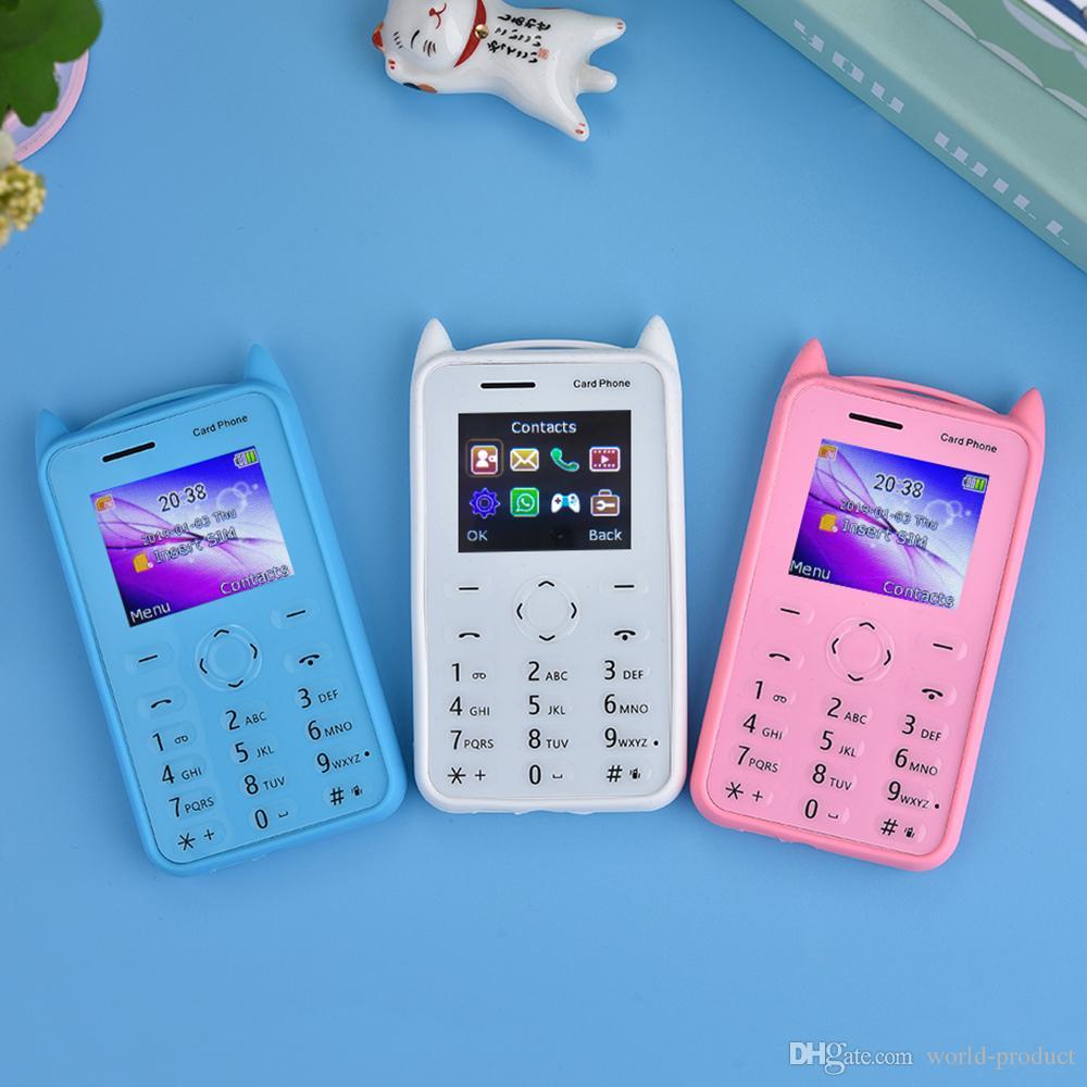 Ultra-mince carte téléphone mobile GSM 2G smartphone A5 pour enfants avec 500MP caméra Bluetooth musique dessin animé petit téléphone