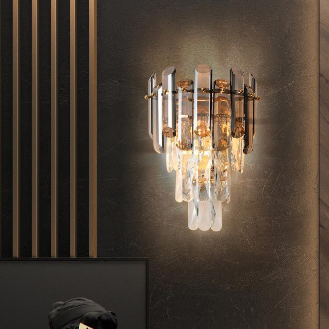 Yeni tasarım modern lüks W 25cm x Y 36cm Dumanlı kristal duvar led aplikler aplikler oda koridor yatak odası başucu merdivenlerden yaşayan lambalar