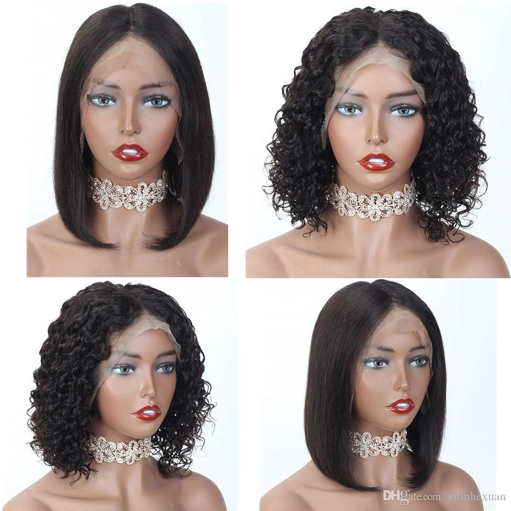 Short Bob Lace Front Wigs Human Hair Glueless Brazilian Virgin Hair Wigs for Black Women Natural Color Lace Wigs with Baby Hair