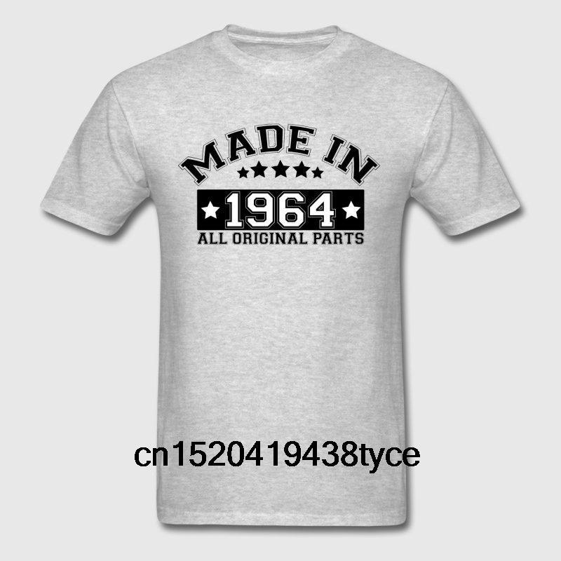Camisetas masculinas feitas em 1964 Todas as peças originais T-shirt de moda para homens