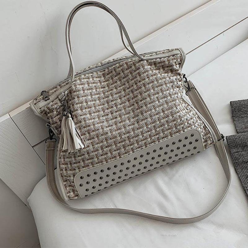 luxuoso tecido sacos bolsas crossbody para as mulheres 2020 mulheres sacos de ombro de grande capacidade de moda rebite saco do mensageiro ocasional