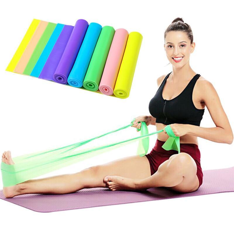 W 150см Естественная Йога Пилатес Stretch Сопротивление Группа Упражнение Обучение Фитнес Группа Упругие упражнения Фитнес Rubber