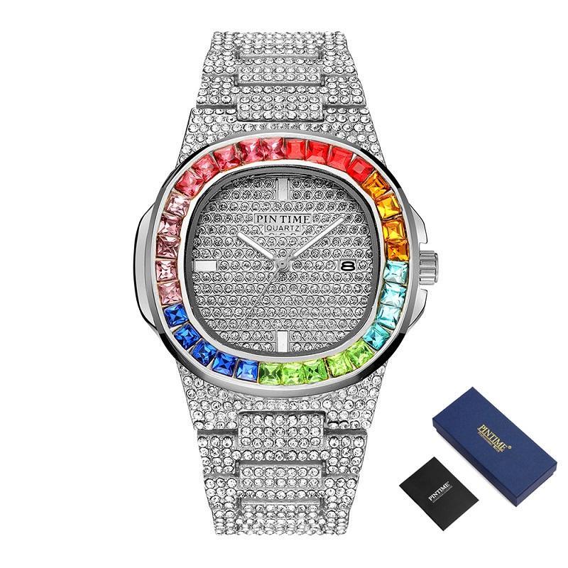 Design Criativo Mens Relógios Top Marca de luxo Quartz diamante para fora congelado Assista Hip Hop Ouro de aço inoxidável relógio de pulso relogio masculino