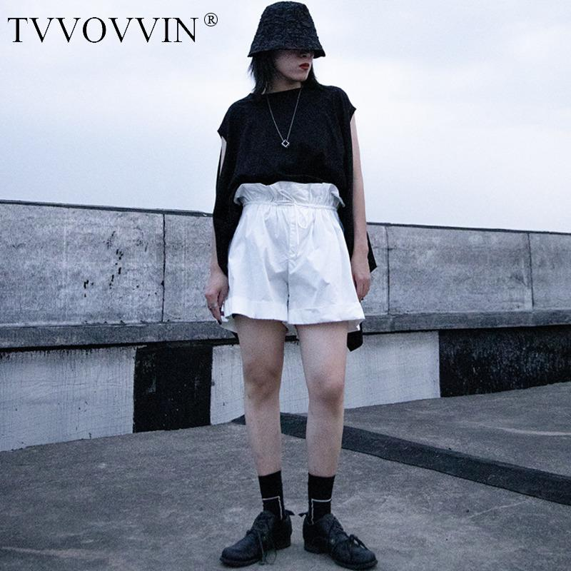 TVVOVVIN de moda sólidos sueltos de algodón cortocircuitos rectos 2020 verano nuevo cordón remiendo Streetwear flojo hembra A847