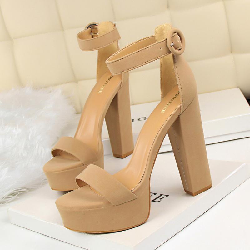BigTree Scarpe Donna pompe degli alti talloni delle donne dei tacchi sexy blocco dei sandali di modo Piattaforma Fibbia nuove signore