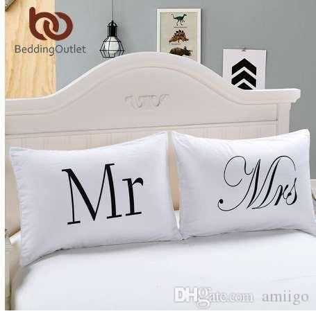 BeddingOutlet Herr und Frau Kissenbezüge Paar Kissenbezüge Sein und Ihr persönlicher Kissenbezug