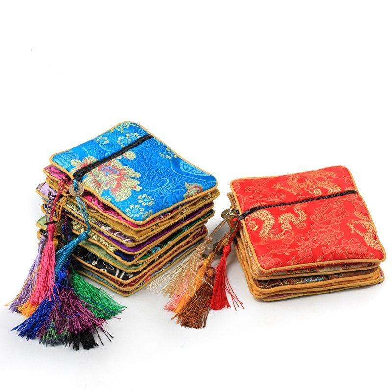 작은 지퍼 광장 실크 브로케이드 파우치 보석 선물 가방 중국어 술 동전 지갑 포장 10PCS / 많은 믹스 컬러 무료 배송 파우치