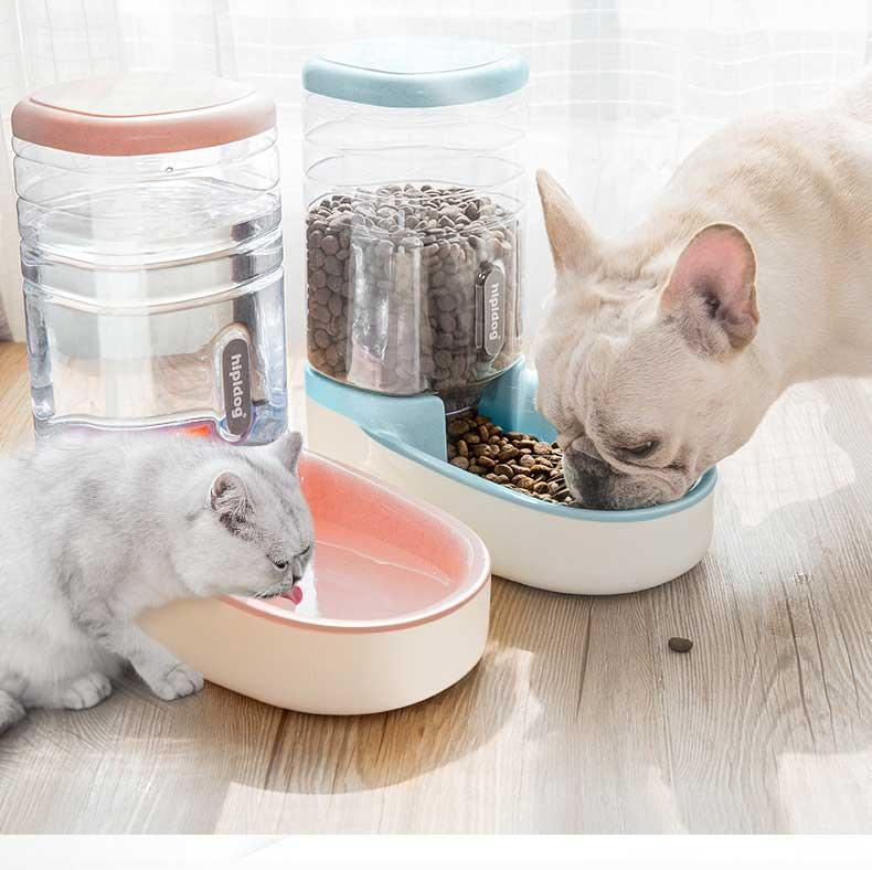 الحيوانات الأليفة التلقائي المغذية القط الكلب الآلي الشارب الكلب السلطانية القط حوض مياه تغذية مزيج الحبوب دلو