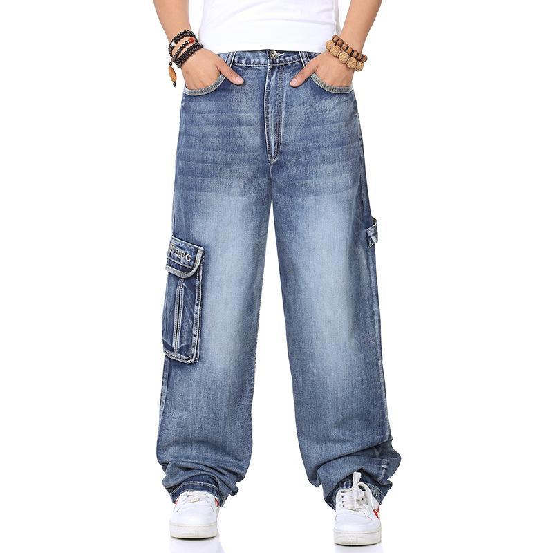 2019 Hip Hop Jeans Männer lose gerade Fat plus-sized Weites Bein Skateboard Hosen Trend Lard-Eimer-Hosen