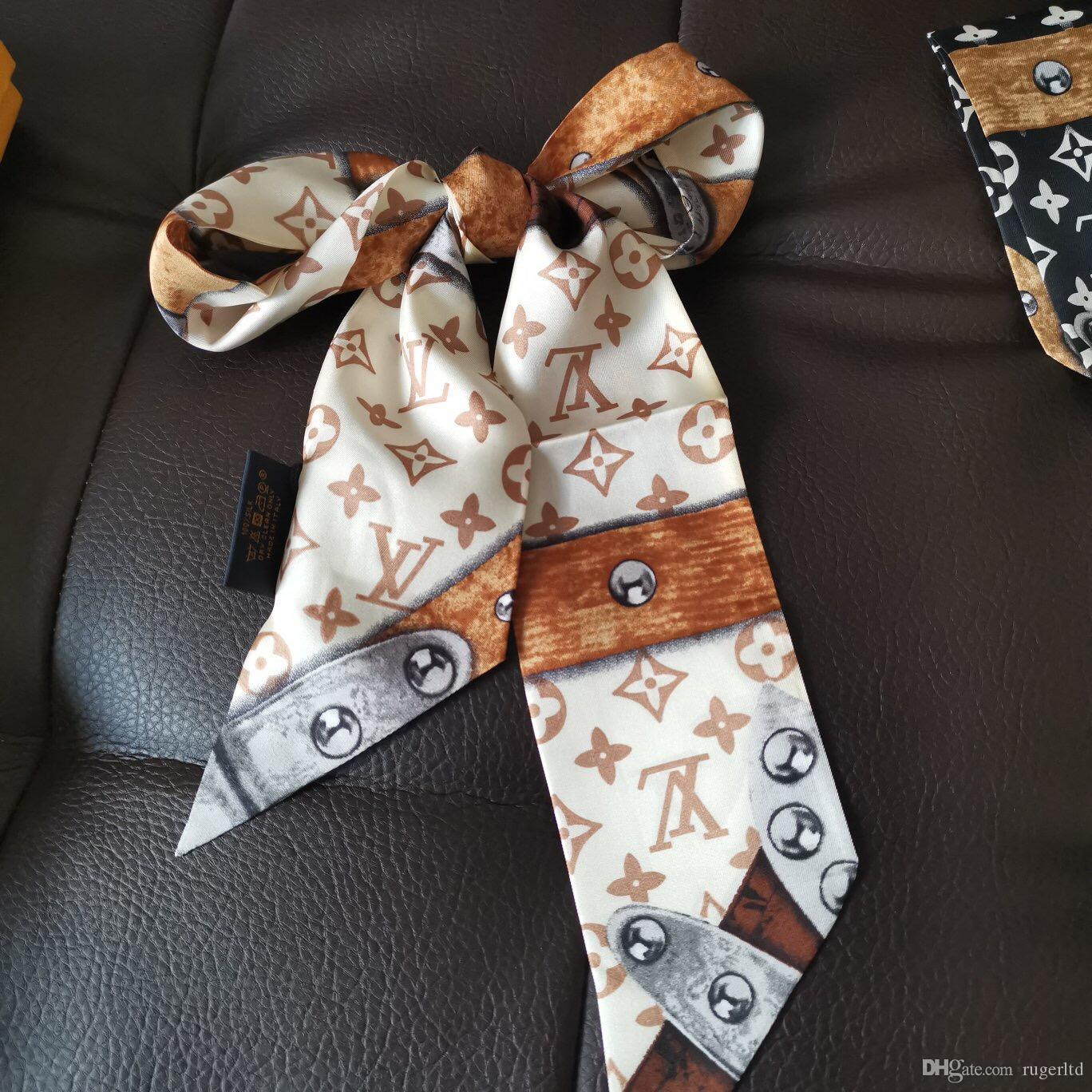 Silk fular çift taraflı baskılı dimi saten marka küçük kurdele. Tasarımcı Eşarp Kadın İnce Dar Pocket Sap