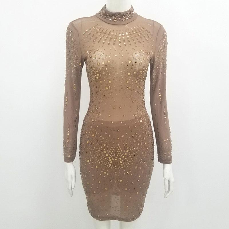 prospettiva nudo maglia Abito Donne Stretch Abiti Nightclub di cristallo di compleanno di sera del partito Vestiti due pezzi-set