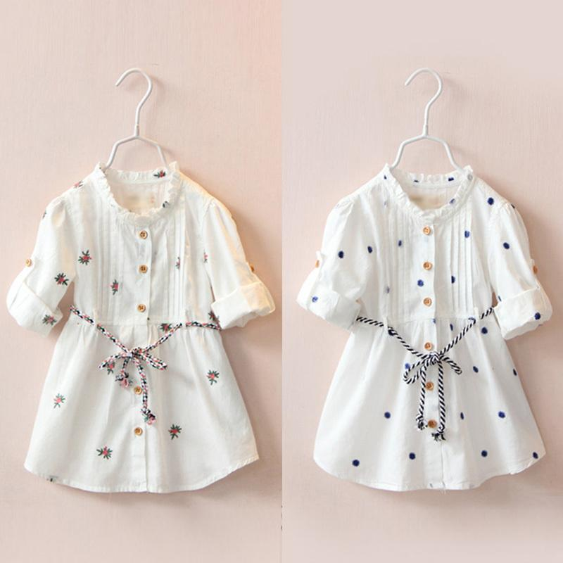 2018 Spring Autumn Female Children's Clothing Baby Kids Girls Cotton Embroidery Print Long Short Sleeve White Dresses With Belt Y19061801