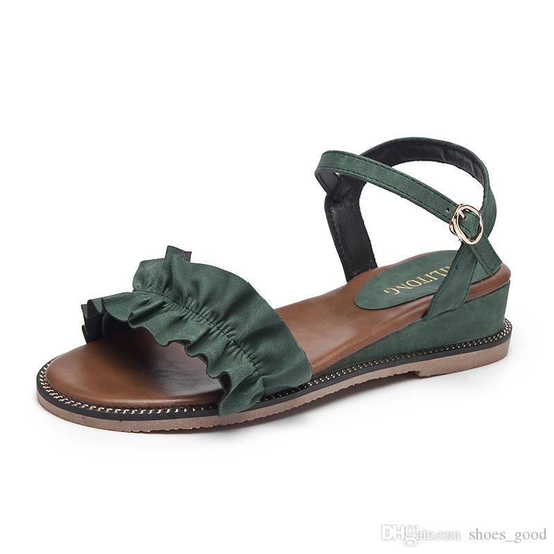 Summer Fashion Trend Women Holiday Beach Sandals Black Green Brown Ladies Girle Love Vogue Style Comfortable to Wear Daily Casual Shoes