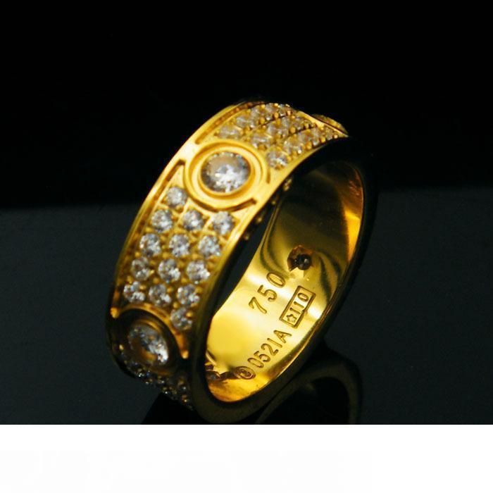 도매 티타늄 철강 육 드릴 사랑 다이아몬드 반지를 위한 여성 남성 커플 Anel 입방 지르코니아의 결혼 반지 밴드 Bague Femme