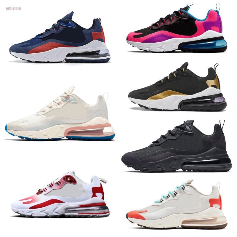 NikeAirMax270React Reagir Homens Mulheres Running Shoes Bauhaus Triplo Black White Optical Oreo Grape Bleached Coral Mens treinadores desportivos tamanho da sapatilha 36-45