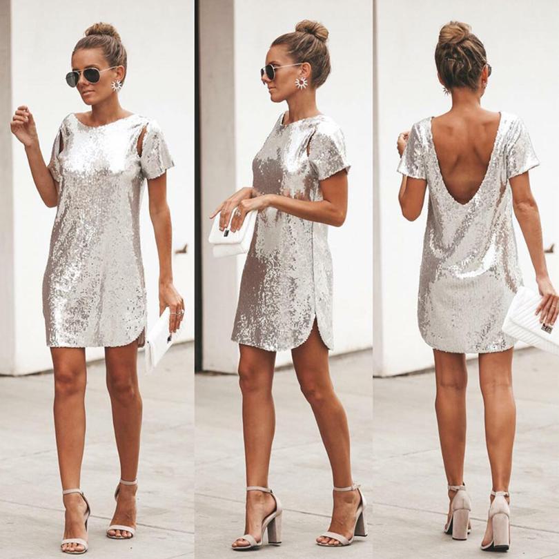 Fiesta de Navidad Mini vestido corto de lentejuelas de plata otoño atractivo Backless de las mujeres del vestido de manga corta vestidos de club Vestidos