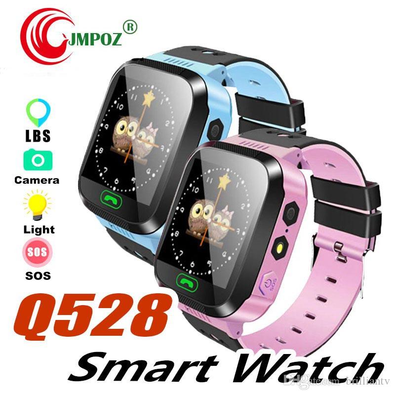 Cute Sport Q528 Kids Tracker Smart Watch with Flash Light Touchscreen SOS Call LBS Location Finder for kid Child PK Q50 GPS tracker +package