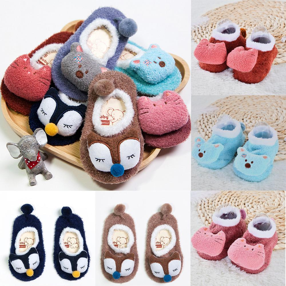 Cartoon Socks Kids Baby Girls Boys Anti-Slip Warm Socks Slipper Shoes Boots A2