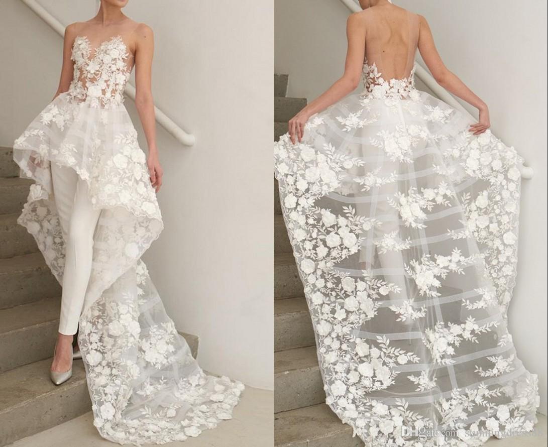 Fashion 3D floral Flowers Hi Low Wedding Jampsuits Dresses Sheer Neck Applique Lace Sequins Cheap Wedding Reception Dress Bridal Gowns New