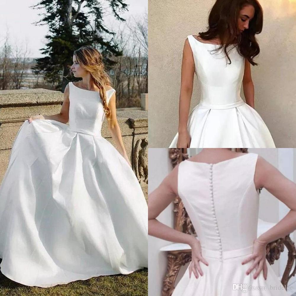 Простые свадебные платья 2020 a Line Scoop шеи кнопка задней подметают поезда плюс размер свадебные платья робичка де Марие дешево