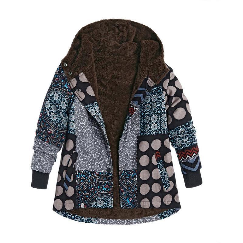 Зима ватка пальто Плюс Velvet однобортного Длинного капюшон Этнического Parkas Женщина с капюшоном ретро печати Повседневных зимних курток и пиджаков