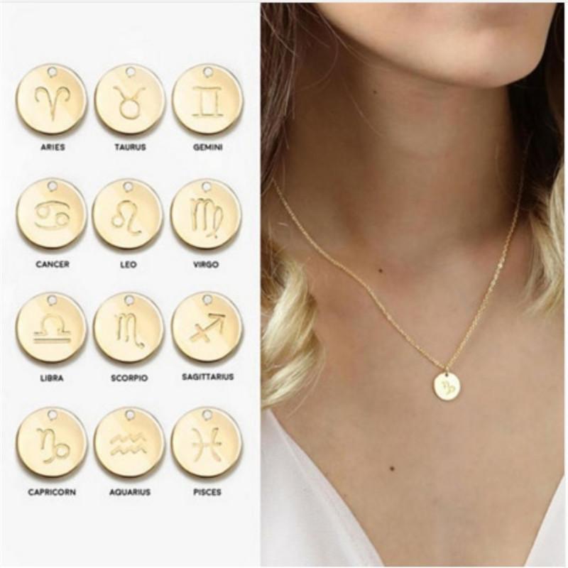الأزياء 12 علامات البروج الأولي قلادة أساور الذهب والفضة اللون القرص كوكبة عقدة سوار لمجموعة مجوهرات العائلة النساء هدايا