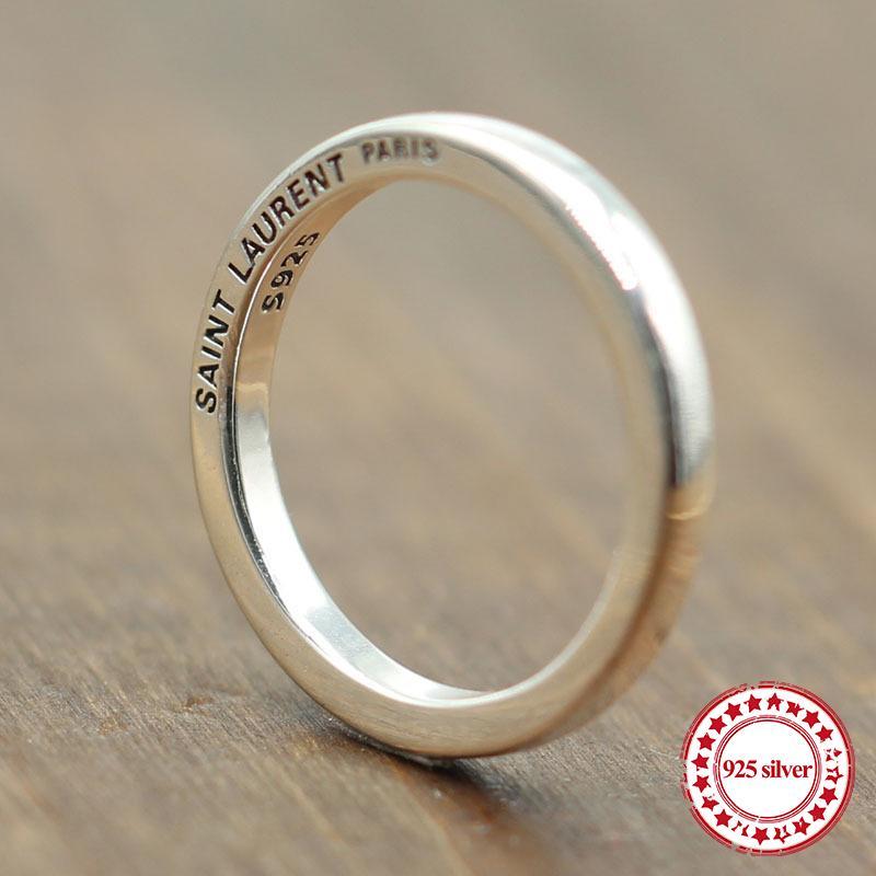 S925 anello in argento sterling personalizzati classico stile di moda semplice coppia liscia anelli semplici gioielli di inviare amante regalo