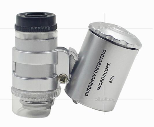 DHL LED Мини Портативный 60X Ювелиры Лупа Лупа - с УФ-света Увеличительное Loop Eye LED Стенд - Лучший для ювелирных изделий Идентификация 36 * 40 * 20м