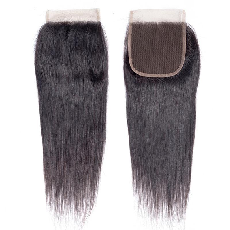 Não processada 100% brasileira Virgin Humano 4'x4' Hair Top Lace Encerramento peruana Malásia indiana reto de seda Closures 8-14inches Mulheres