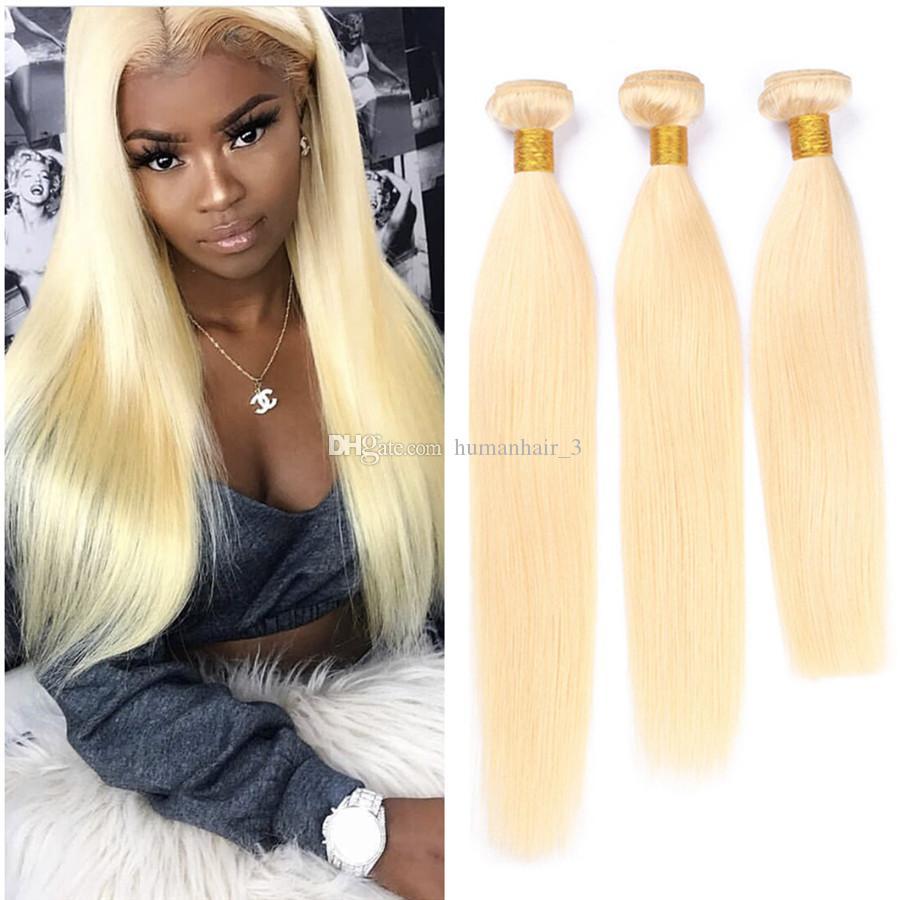 New Arrive Blonde Hair Bundles Straight Hair Malaysian Virgin Human Hair Extensions 3Pcs/Lot Soft 613 Bundles For Sale