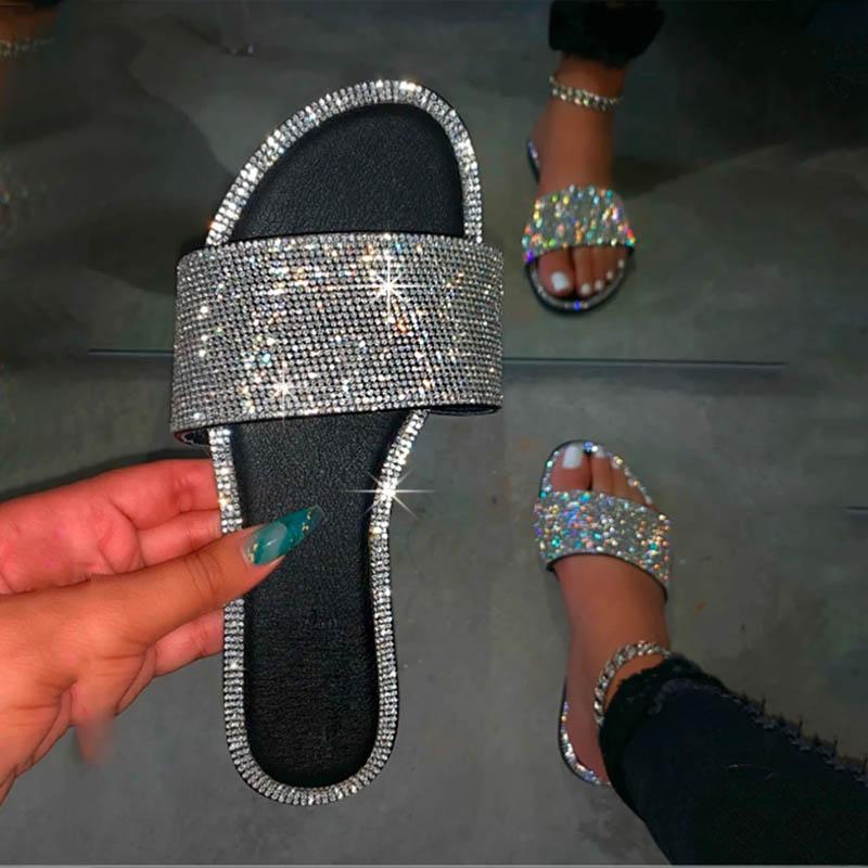 Slides all'ingrosso del partito modo sexy di estate di nuovo strass pantofole dei sandali Women
