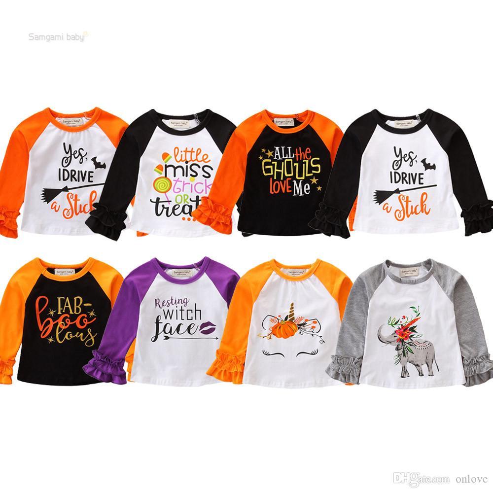 Halloween Top T-shirt Pour Citrouille Elk Cerf Enfants Filles Designer Enfants Tees Vêtements Coton À Manches Longues À Manches À Volants Chemises Vêtements XD21158